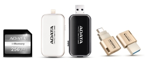 【ADATA】Apple Series product images, left to right i-Memory SD Card, i-Memory UE710 Flash drive, UC350 Type-C OTG dual connector Flash drive